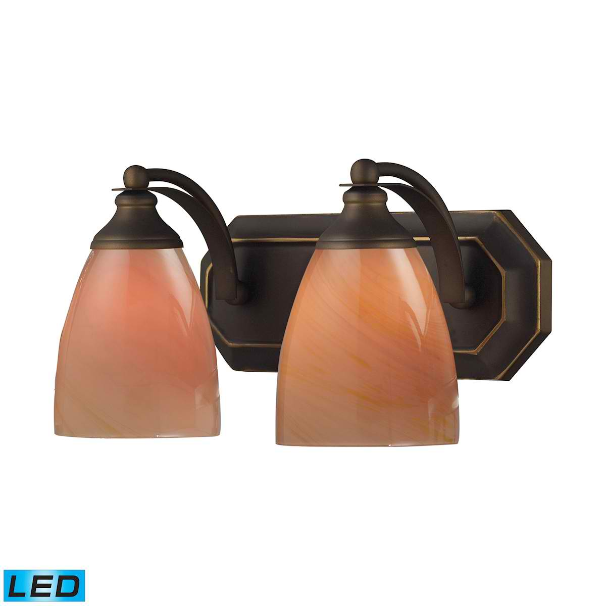 2 Light Vanity in Aged Bronze and Sandy Glass - LED, 800 Lumens (1600 Lumens Total) with Full Scale