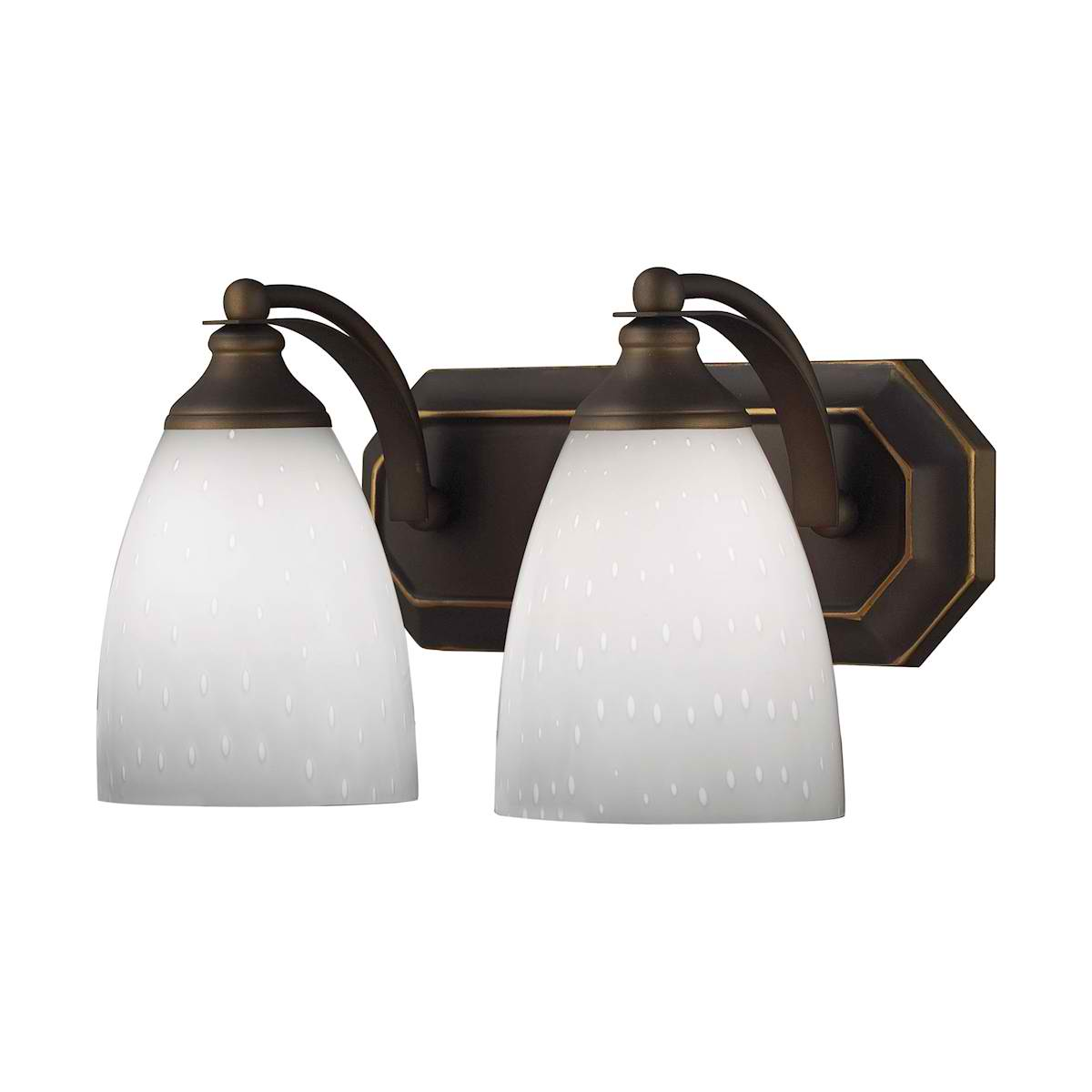 Vanity 2 Light Aged Bronze with Simple White Glass