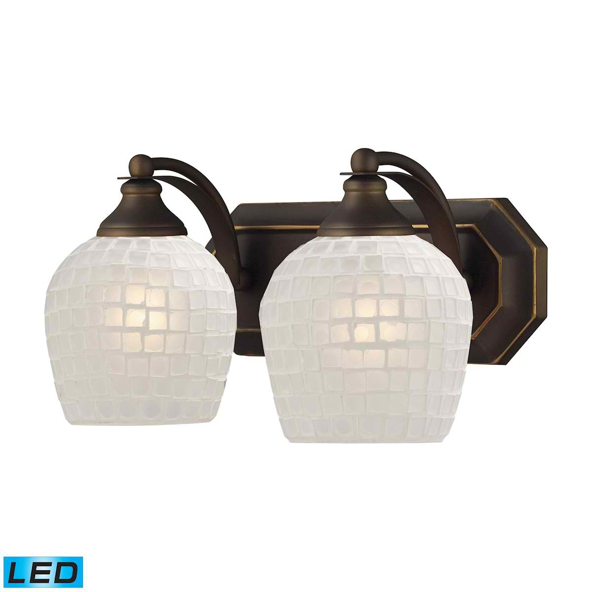 2 Light Vanity in Aged Bronze and White Mosaic Glass - LED, 800 Lumens (1600 Lumens Total) with Full Scale