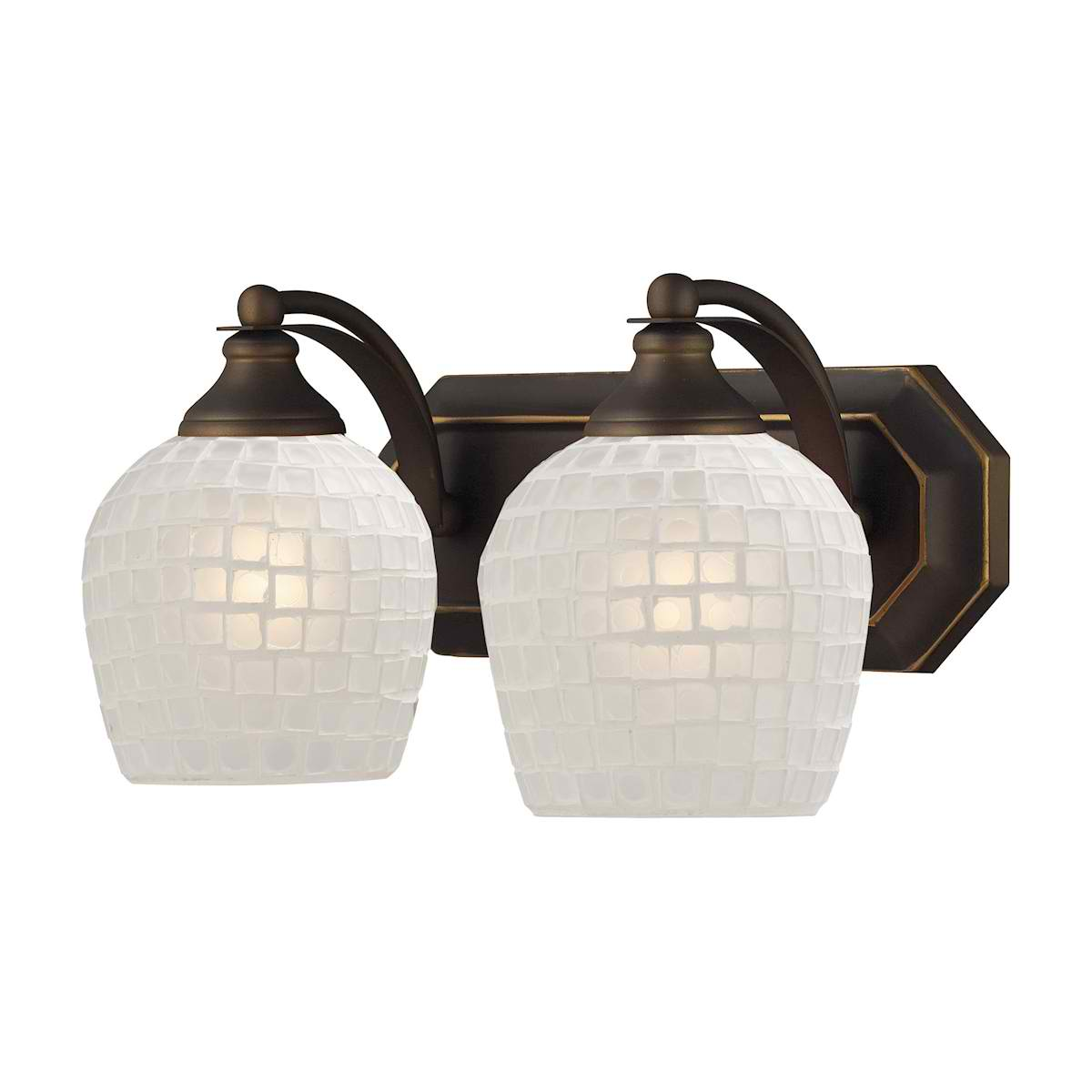 Vanity 2 Light Aged Bronze with White Glass