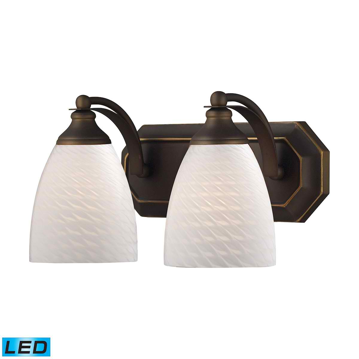 2 Light Vanity in Aged Bronze and White Swirl Glass - LED, 800 Lumens (1600 Lumens Total) with Full Scale