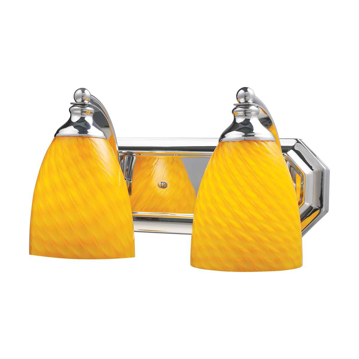 Vanity 2 Light Chrome with Canary Glass