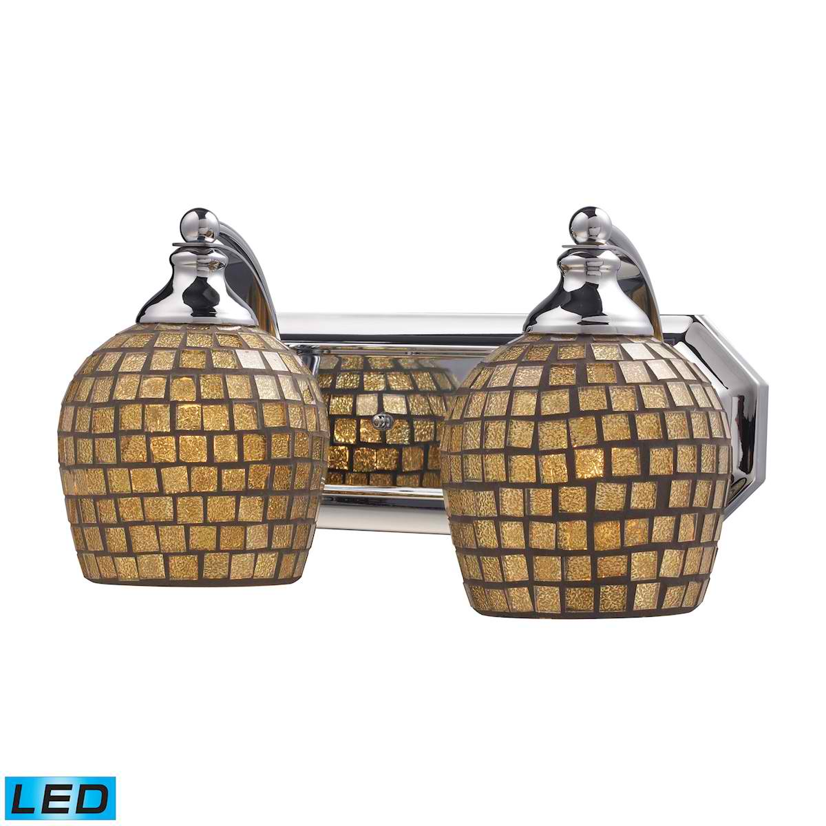 2 Light Vanity in Polished Chrome and Gold Mosaic Glass - LED, 800 Lumens (1600 Lumens Total) with Full Scale