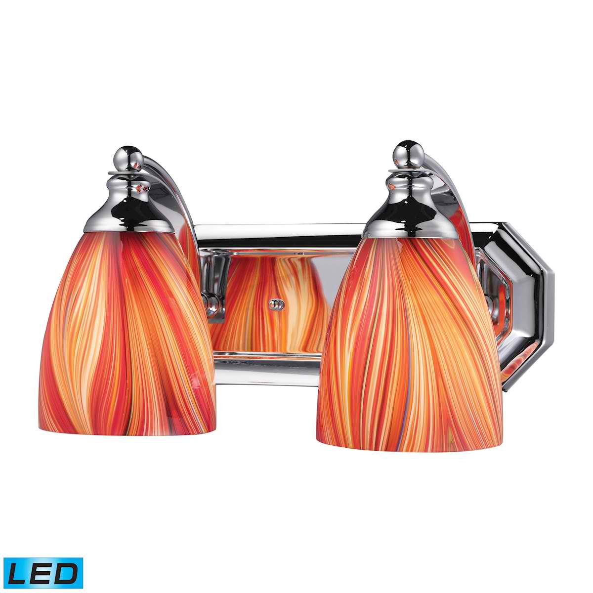 2 Light Vanity in Polished Chrome and Multi Glass - LED, 800 Lumens (1600 Lumens Total) with Full Scale
