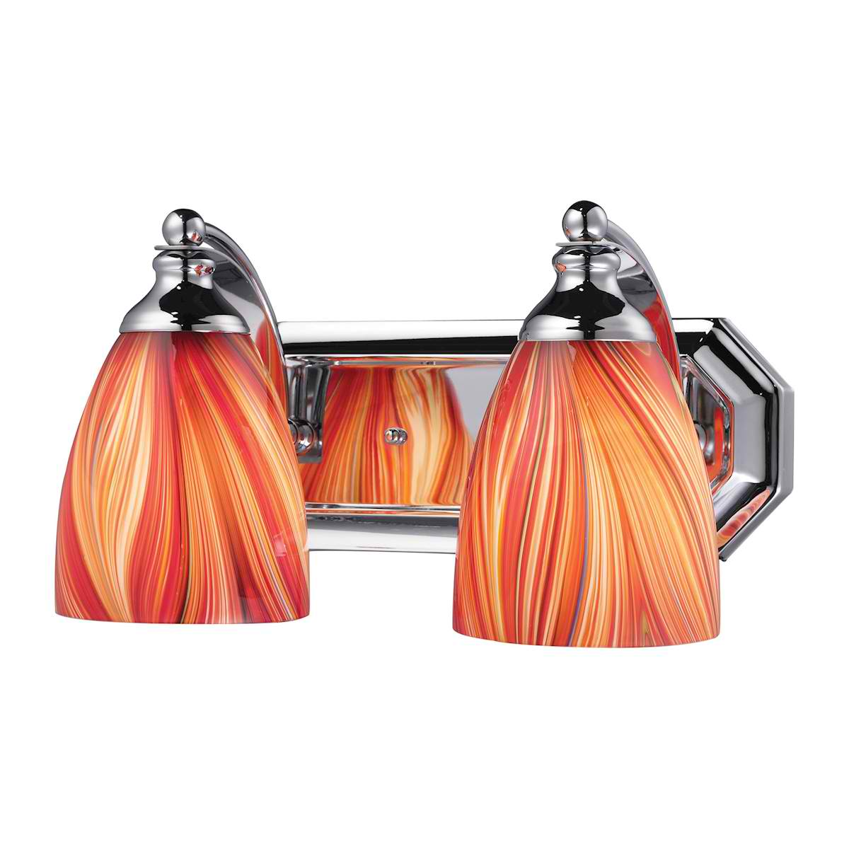 Vanity 2 Light Chrome with Multi Glass
