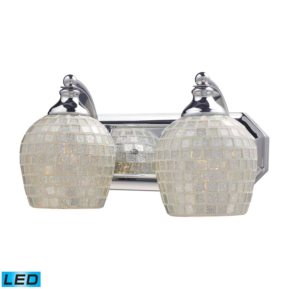 2 Light Vanity in Polished Chrome and Silver Mosaic Glass - LED, 800 Lumens (1600 Lumens Total) With Full Scale