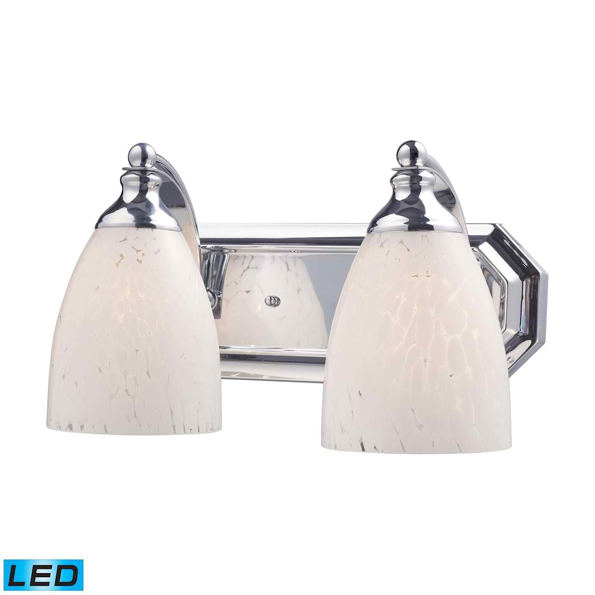 2 Light Vanity in Polished Chrome and Snow White Glass - LED, 800 Lumens (1600 Lumens Total) with Full Scale