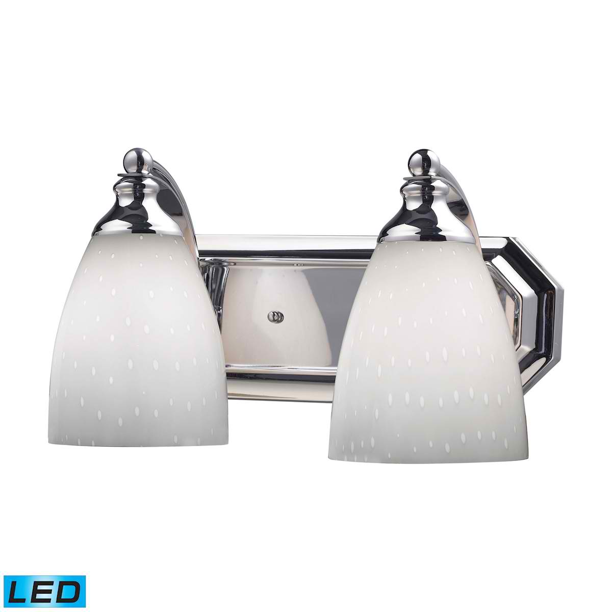 2 Light Vanity in Polished Chrome and Simply White Glass - LED, 800 Lumens (1600 Lumens Total) With Full Scale