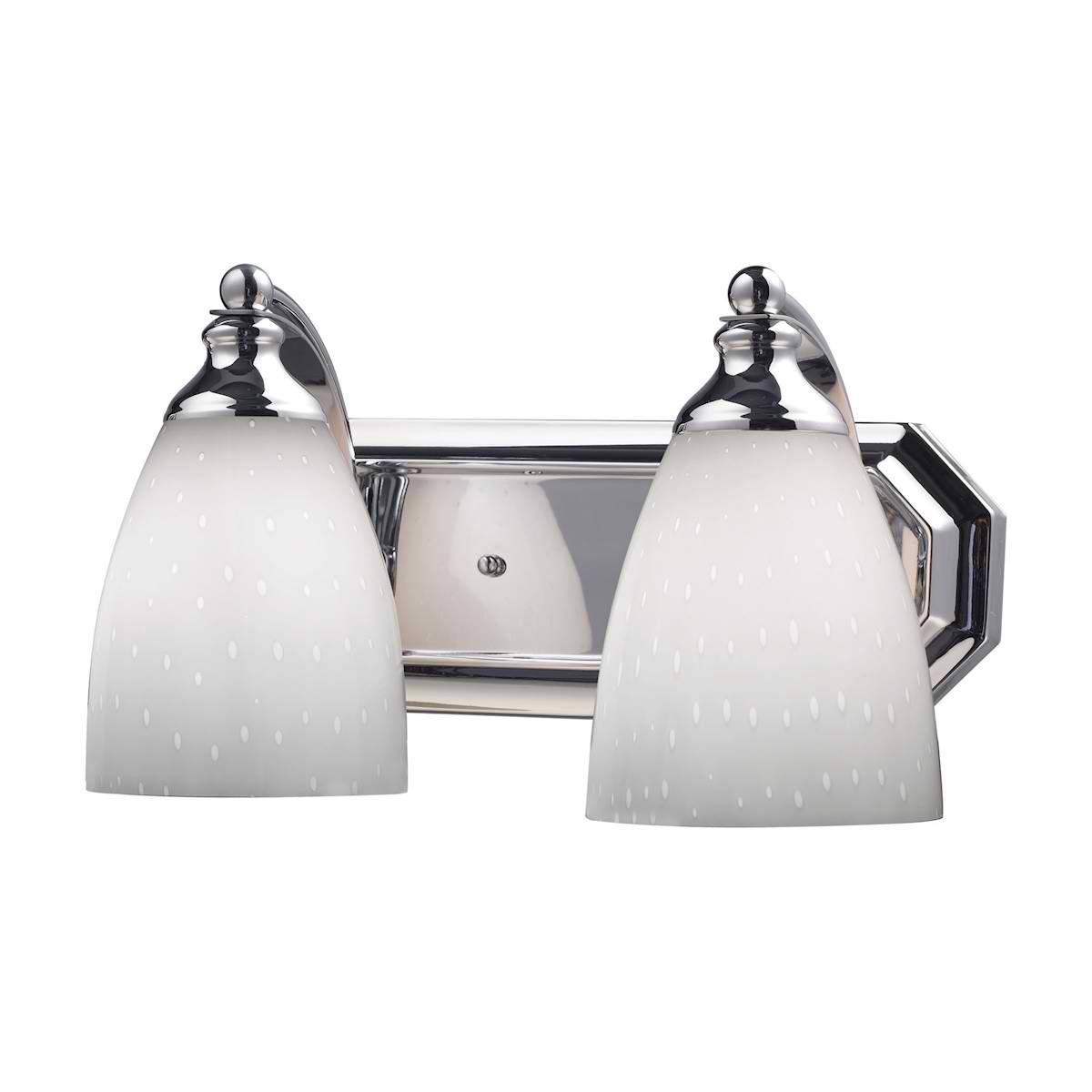 Vanity 2 Light Chrome with Simple White Glass