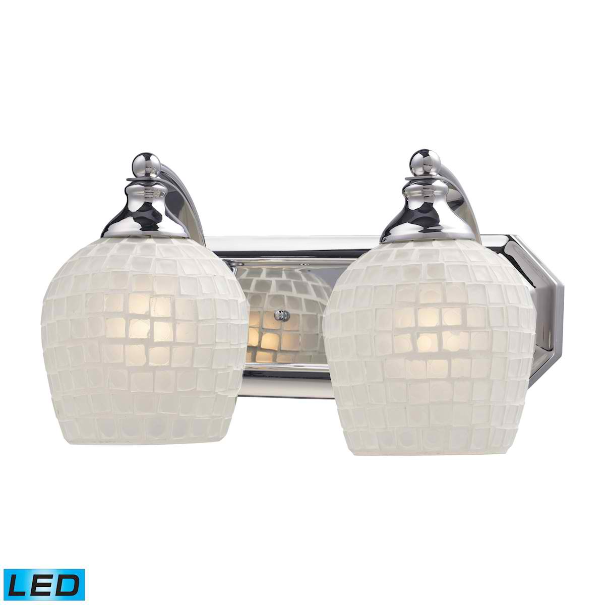 2 Light Vanity in Polished Chrome and White Mosaic Glass - LED, 800 Lumens (1600 Lumens Total) With Full Scale