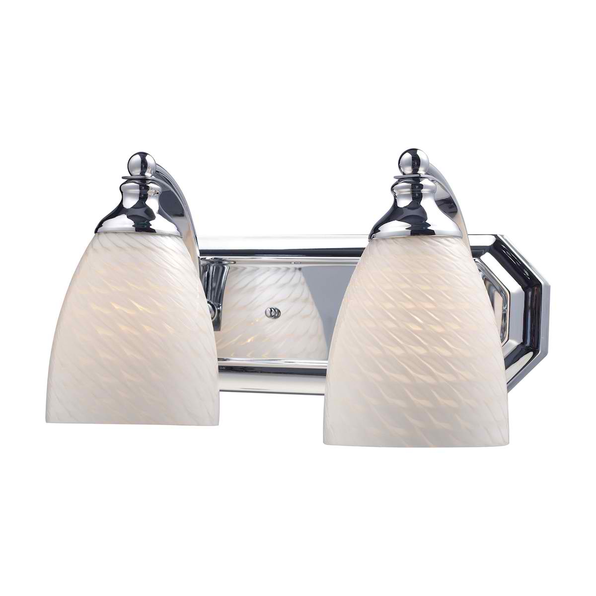 Vanity 2-Light Chrome Complete with Swirl Glass