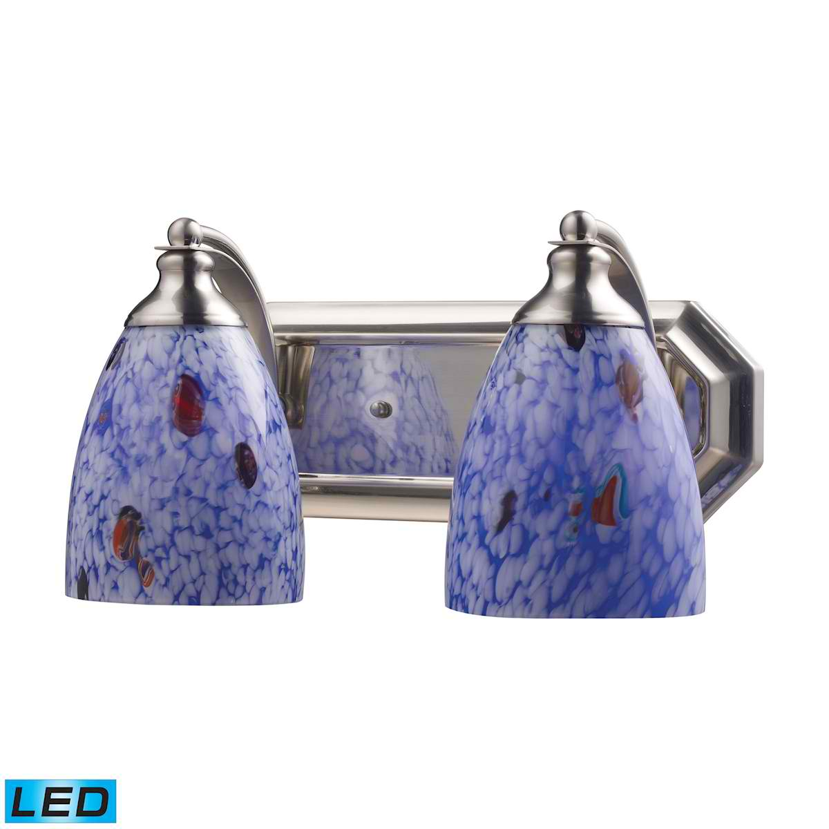 2 Light Vanity in Satin Nickel and Starburst Blue Glass - LED, 800 Lumens (1600 Lumens Total) with Full Scale