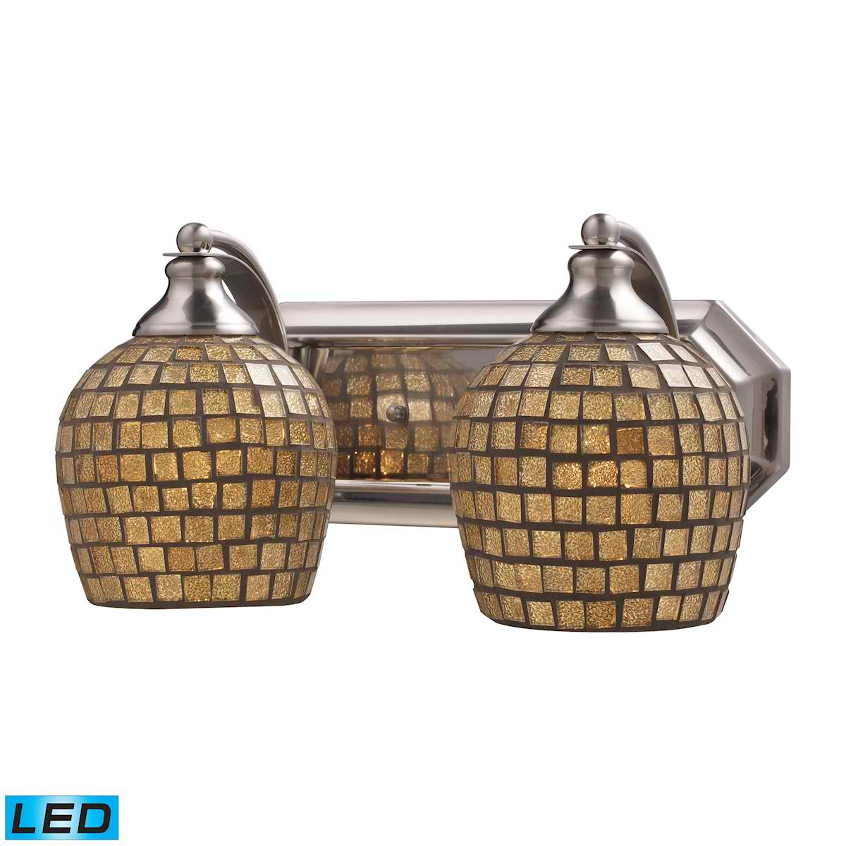 2 Light Vanity in Satin Nickel and Gold Mosaic Glass - LED, 800 Lumens (1600 Lumens Total) with Full Scale