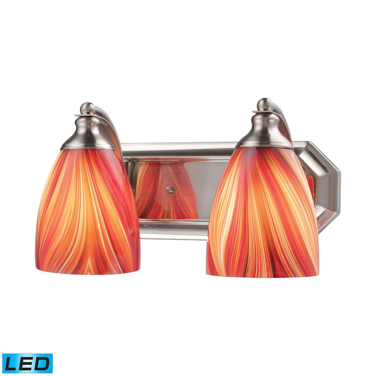 2 Light Vanity in Satin Nickel and Multi Glass - LED, 800 Lumens (1600 Lumens Total) with Full Scale