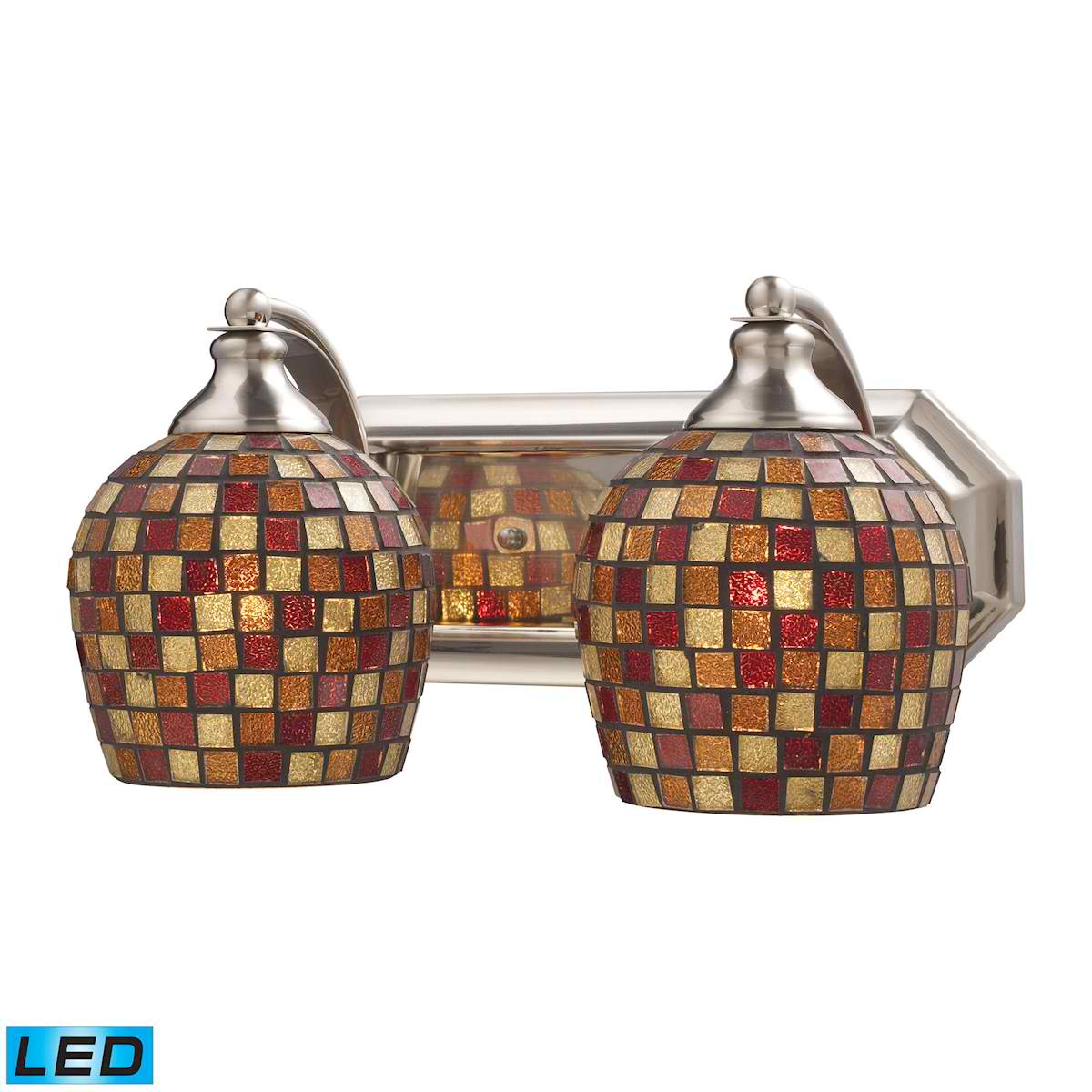 2 Light Vanity in Satin Nickel and Multi Mosaic Glass - LED, 800 Lumens (1600 Lumens Total) with Full Scale