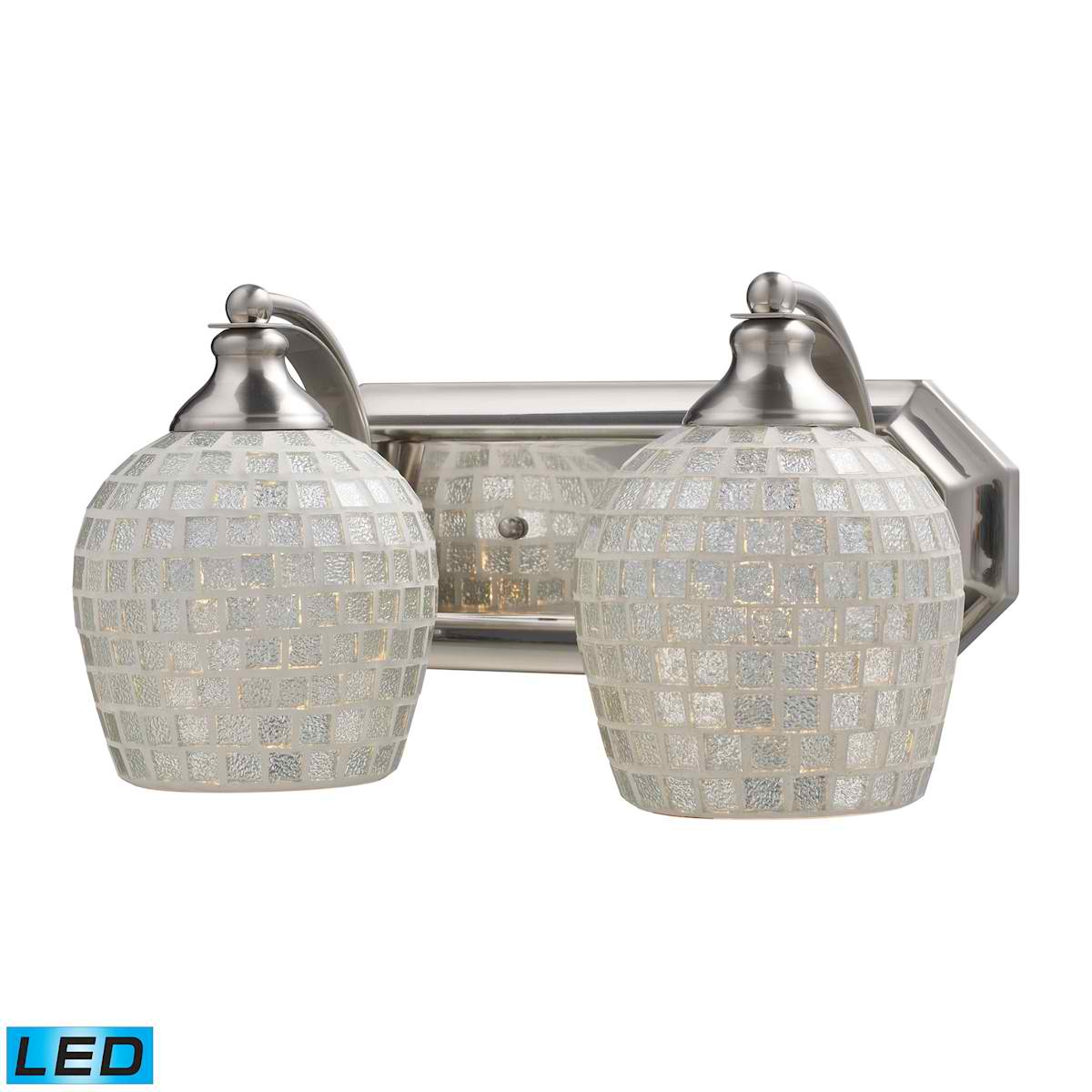 2 Light Vanity in Satin Nickel and Silver Mosaic Glass - LED, 800 Lumens (1600 Lumens Total) with Full Scale