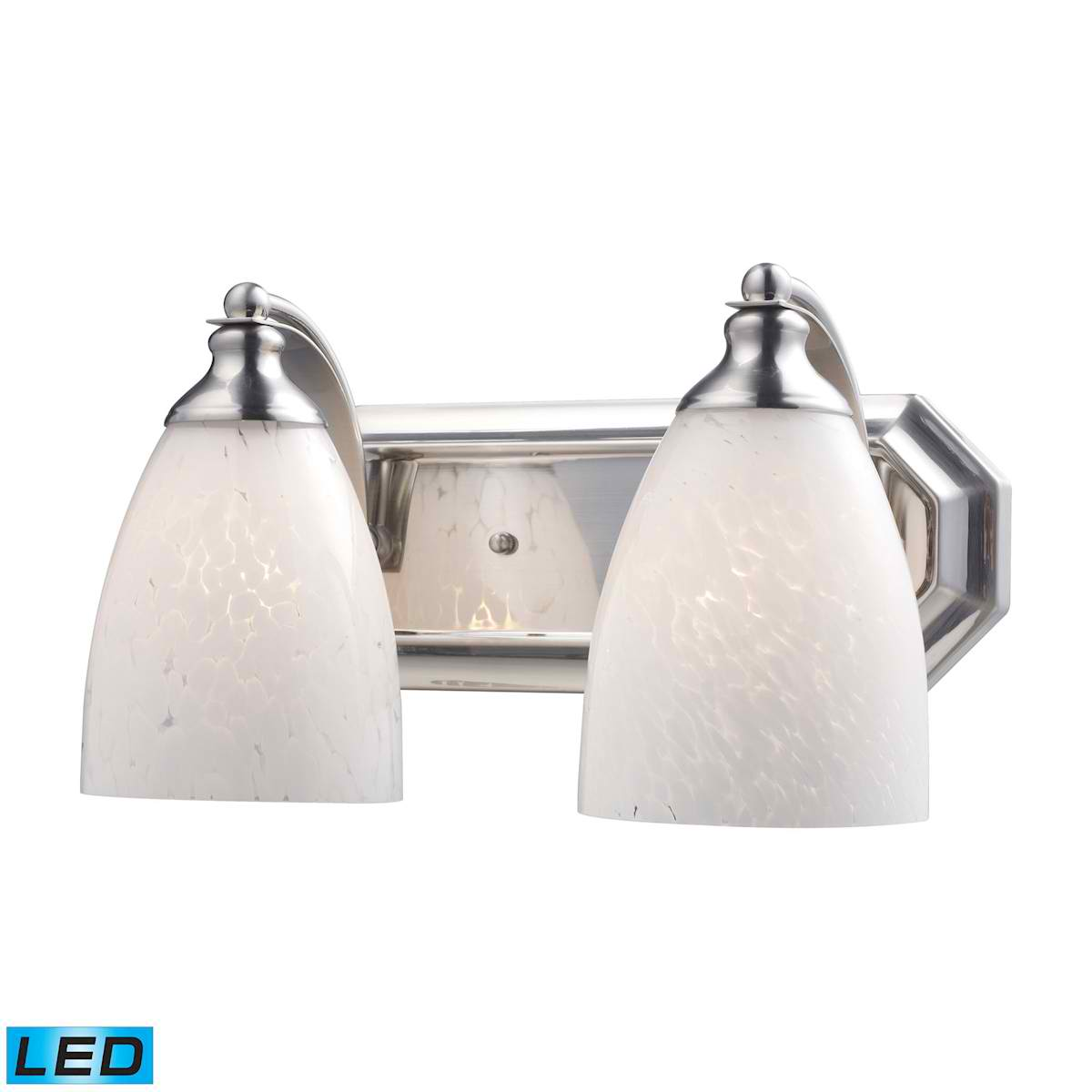 2 Light Vanity in Satin Nickel and Snow White Glass - LED, 800 Lumens (1600 Lumens Total) with Full Scale