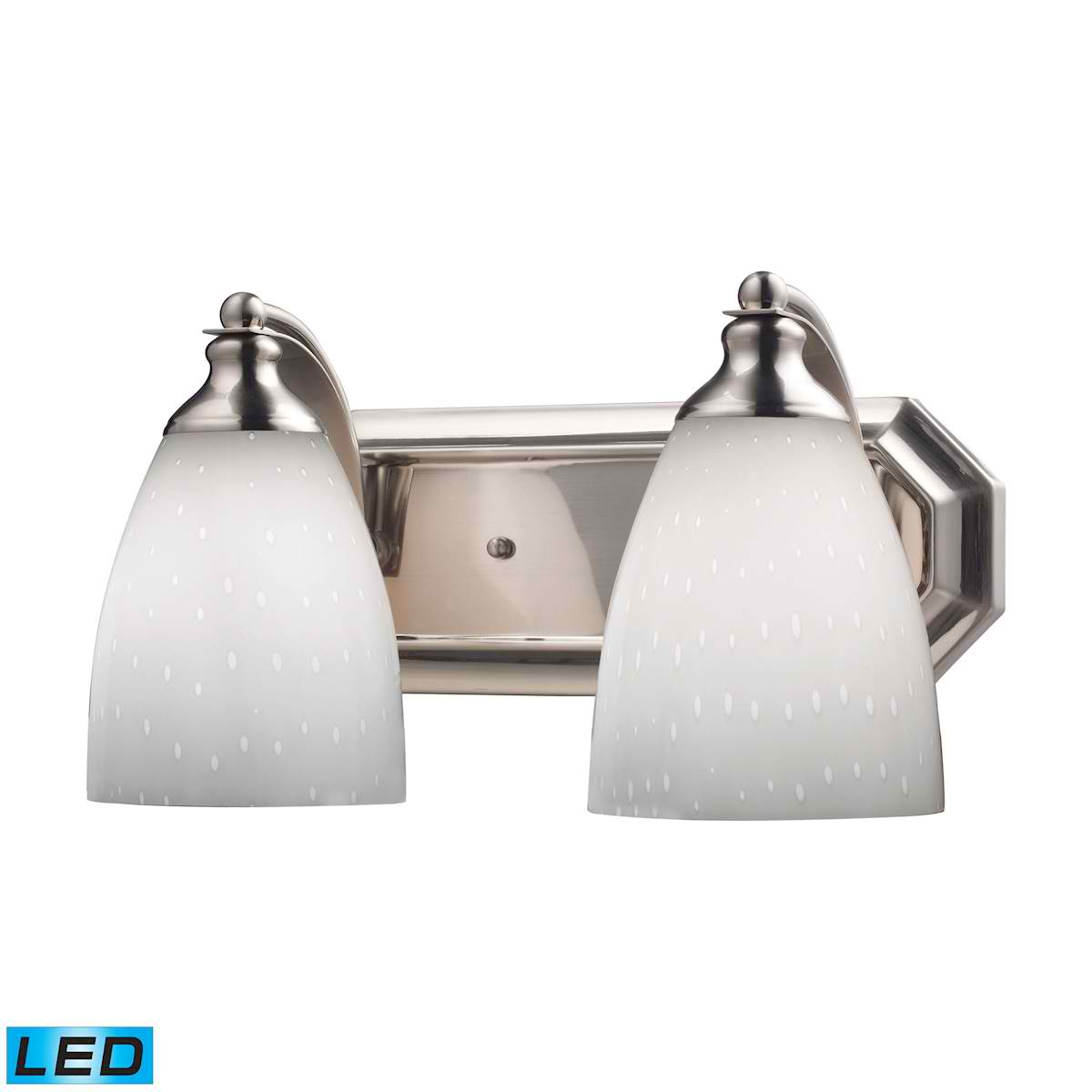 2 Light Vanity in Satin Nickel and Simply White Glass - LED, 800 Lumens (1600 Lumens Total) with Full Scale
