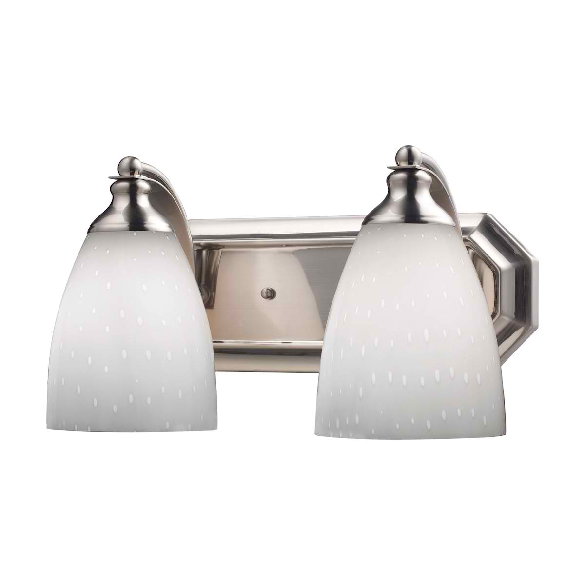 Vanity 2 Light Satin Nickel with Simple White Glass