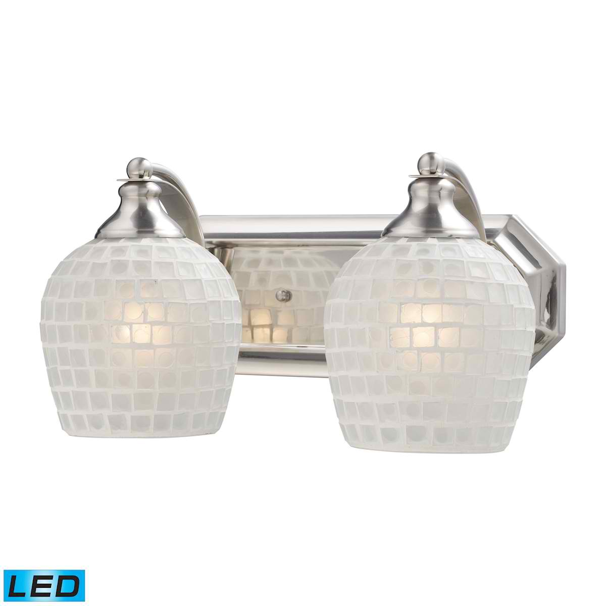2 Light Vanity in Satin Nickel and White Mosaic Glass - LED, 800 Lumens (1600 Lumens Total) with Full Scale