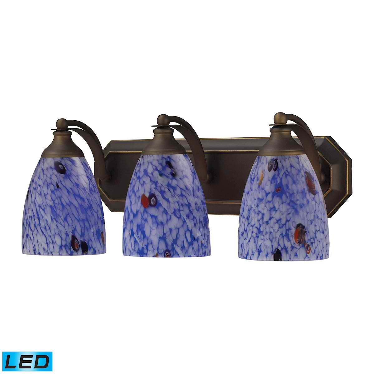3 Light Vanity in Aged Bronze and Starburst Blue Glass - LED, 800 Lumens (2400 Lumens Total) with Full Scale