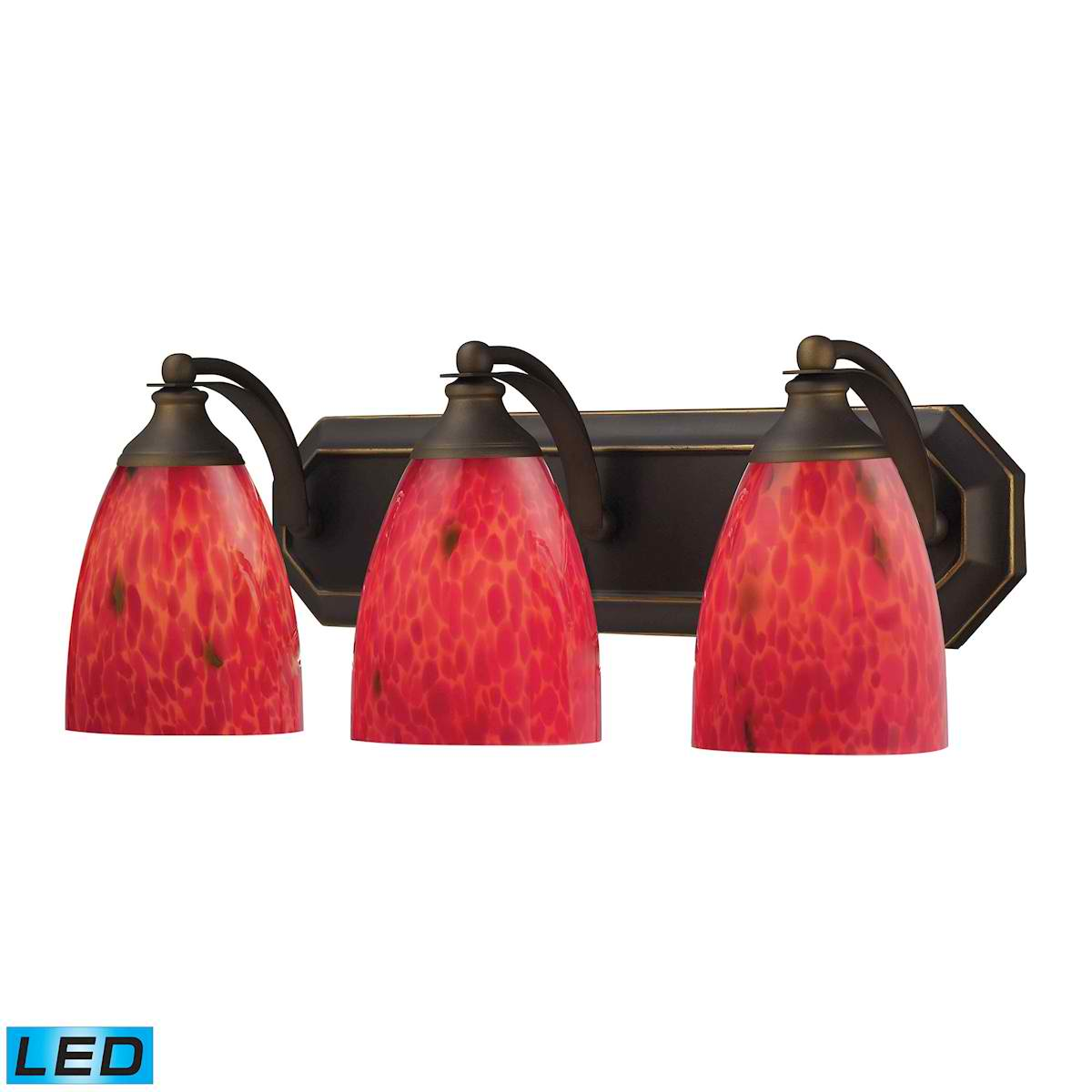 3 Light Vanity in Aged Bronze and Fire Red Glass - LED, 800 Lumens (2400 Lumens Total) with Full Scale