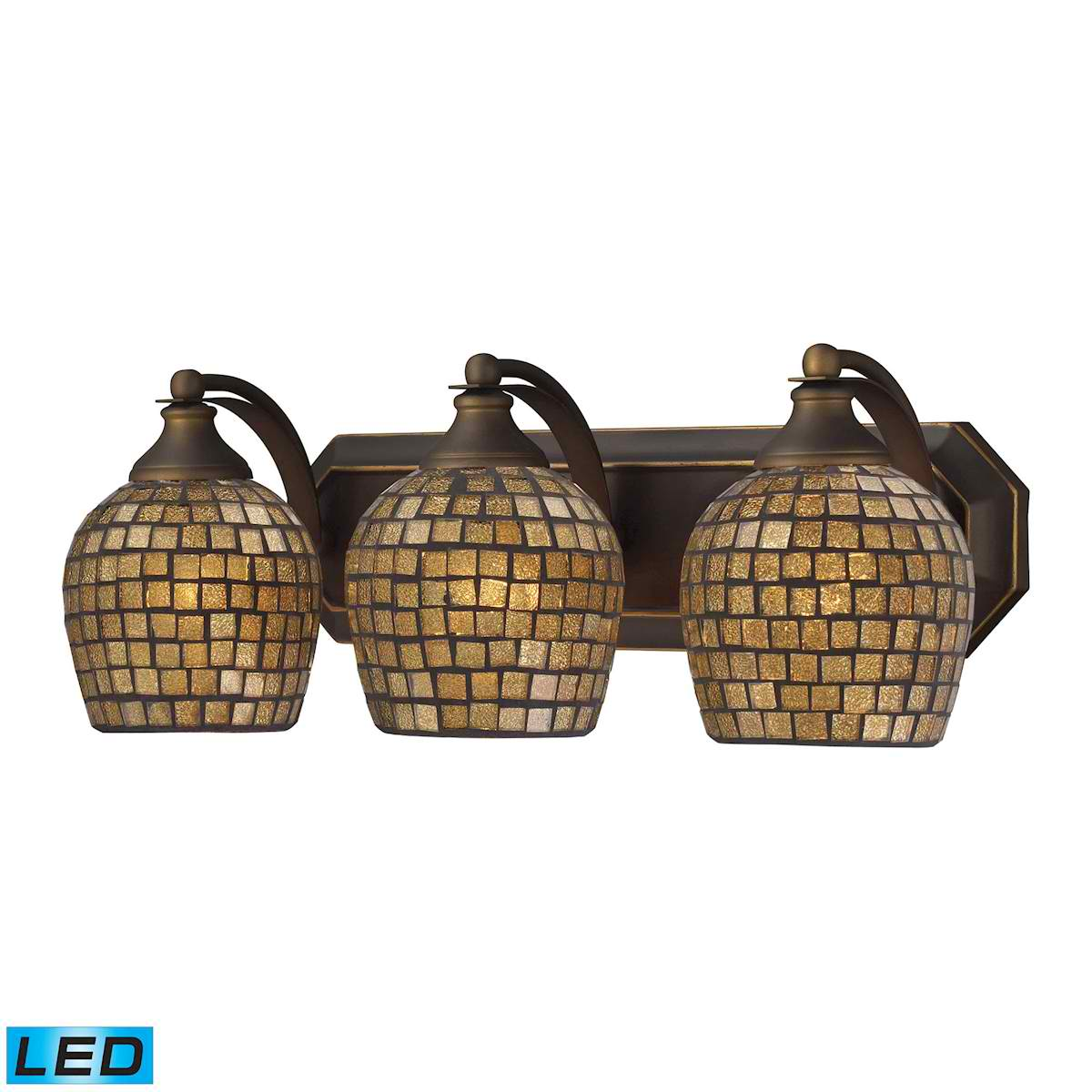 3 Light Vanity in Aged Bronze and Gold Mosaic Glass - LED, 800 Lumens (2400 Lumens Total) with Full Scale