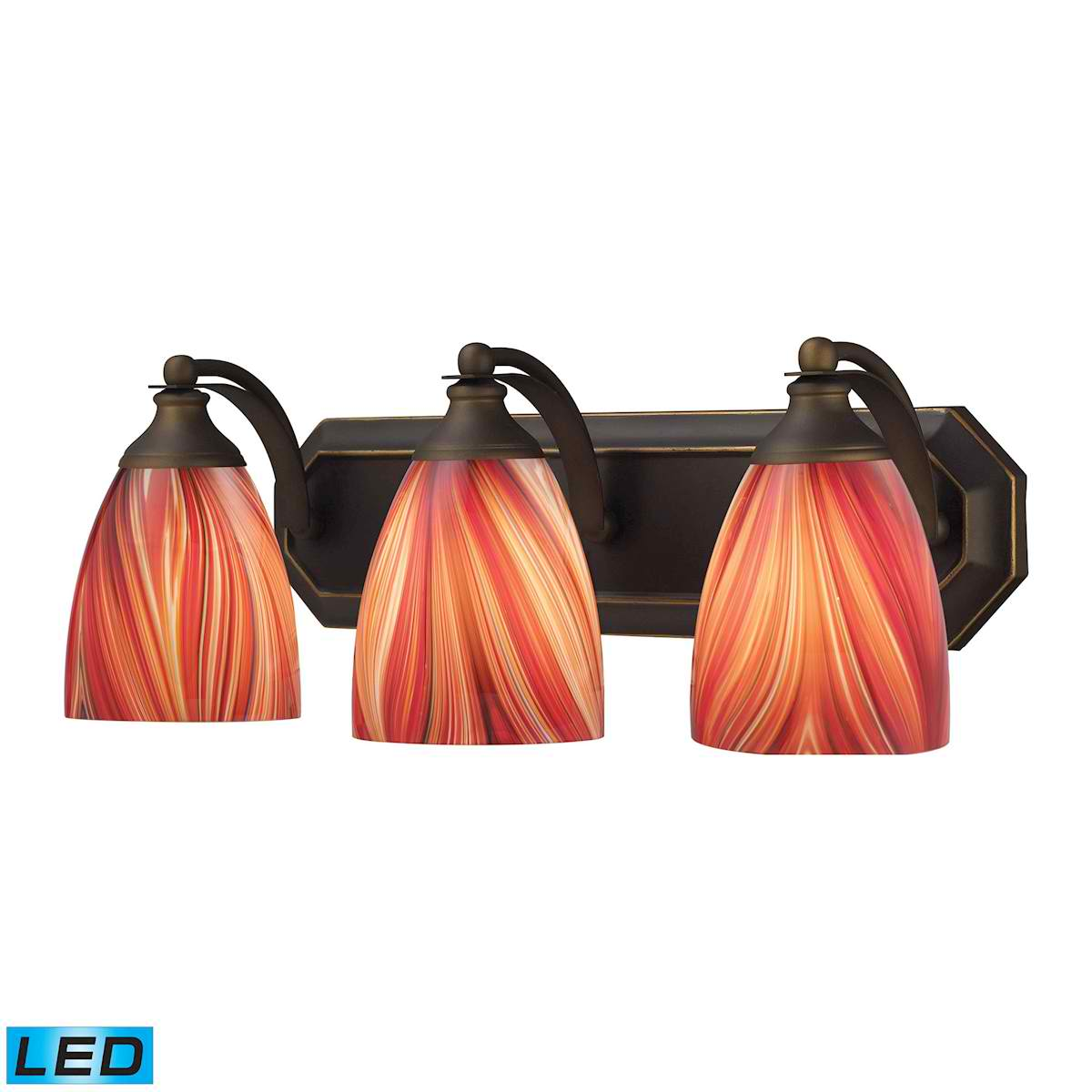 3 Light Vanity in Aged Bronze and Multi Glass - LED, 800 Lumens (2400 Lumens Total) with Full Scale