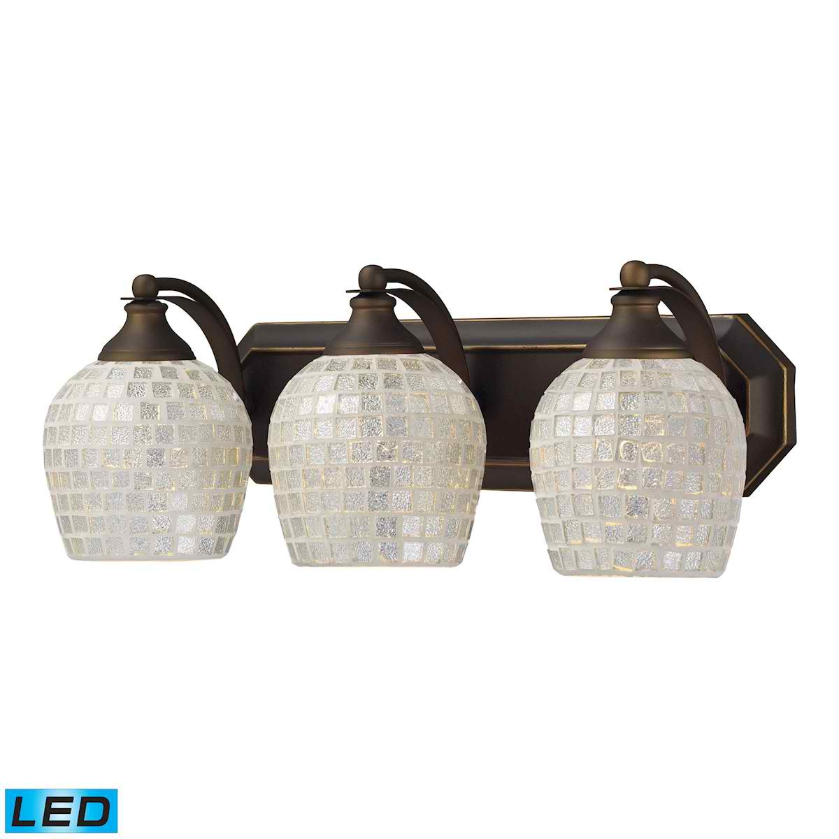 3 Light Vanity in Aged Bronze and Silver Mosaic Glass - LED, 800 Lumens (2400 Lumens Total) with Full Scale
