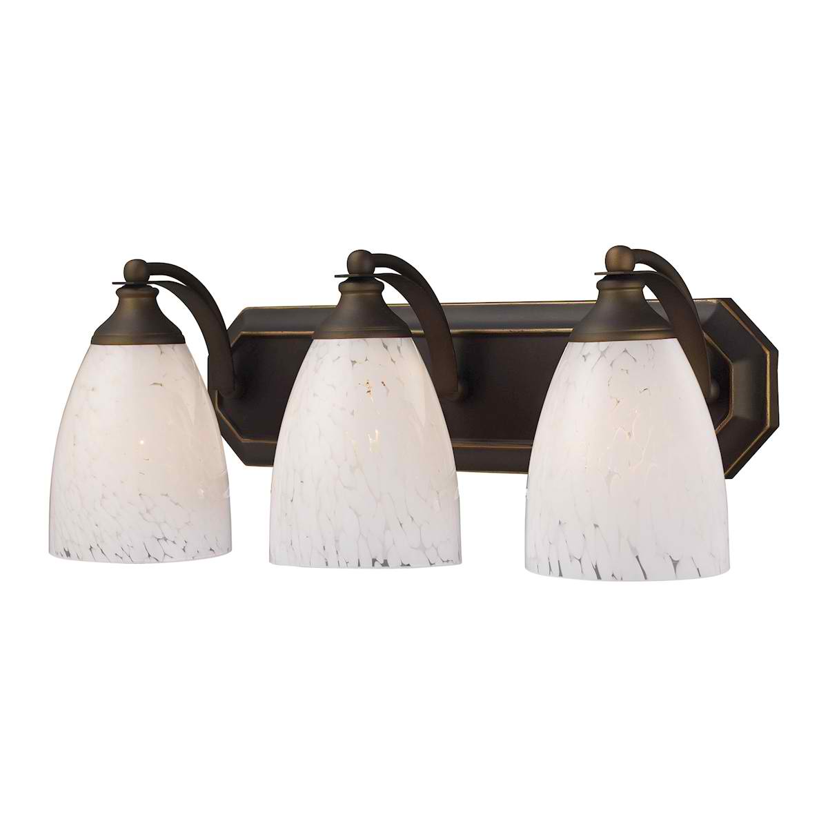 Vanity 3 Light Aged Bronze with Snow White Glass
