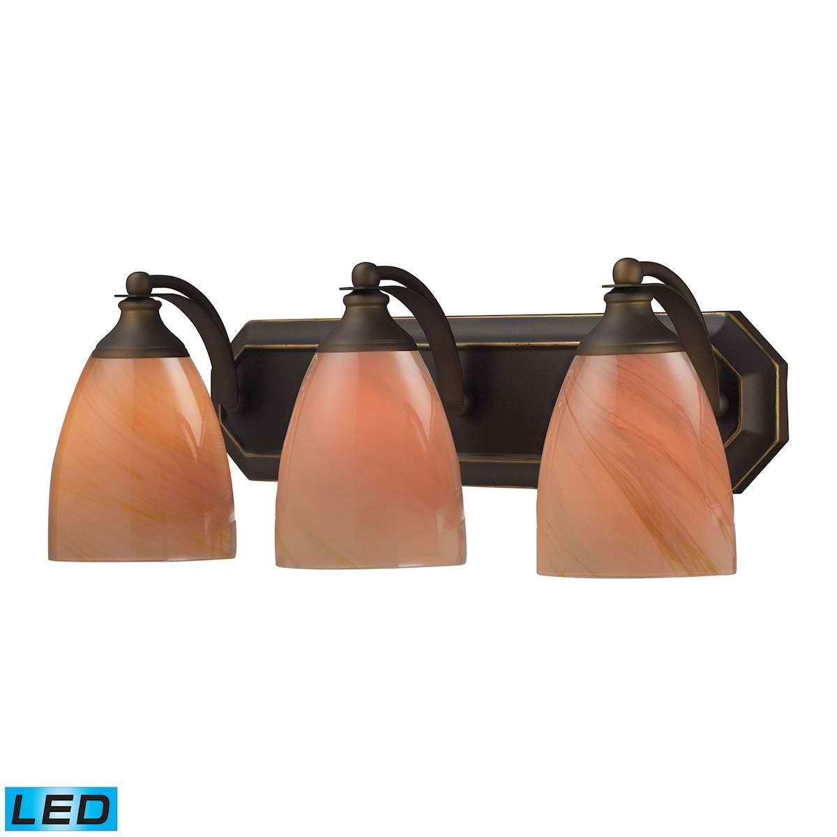 3 Light Vanity in Aged Bronze and Sandy Glass - LED, 800 Lumens (2400 Lumens Total) with Full Scale