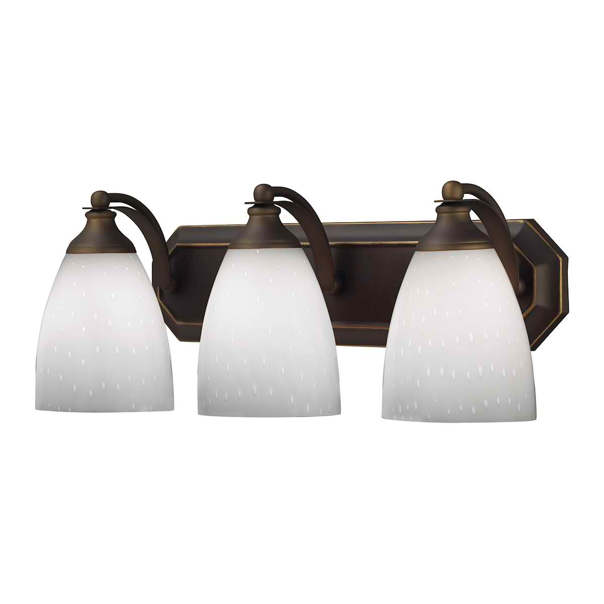 Vanity 3 Light Aged Bronze with Simple White Glass