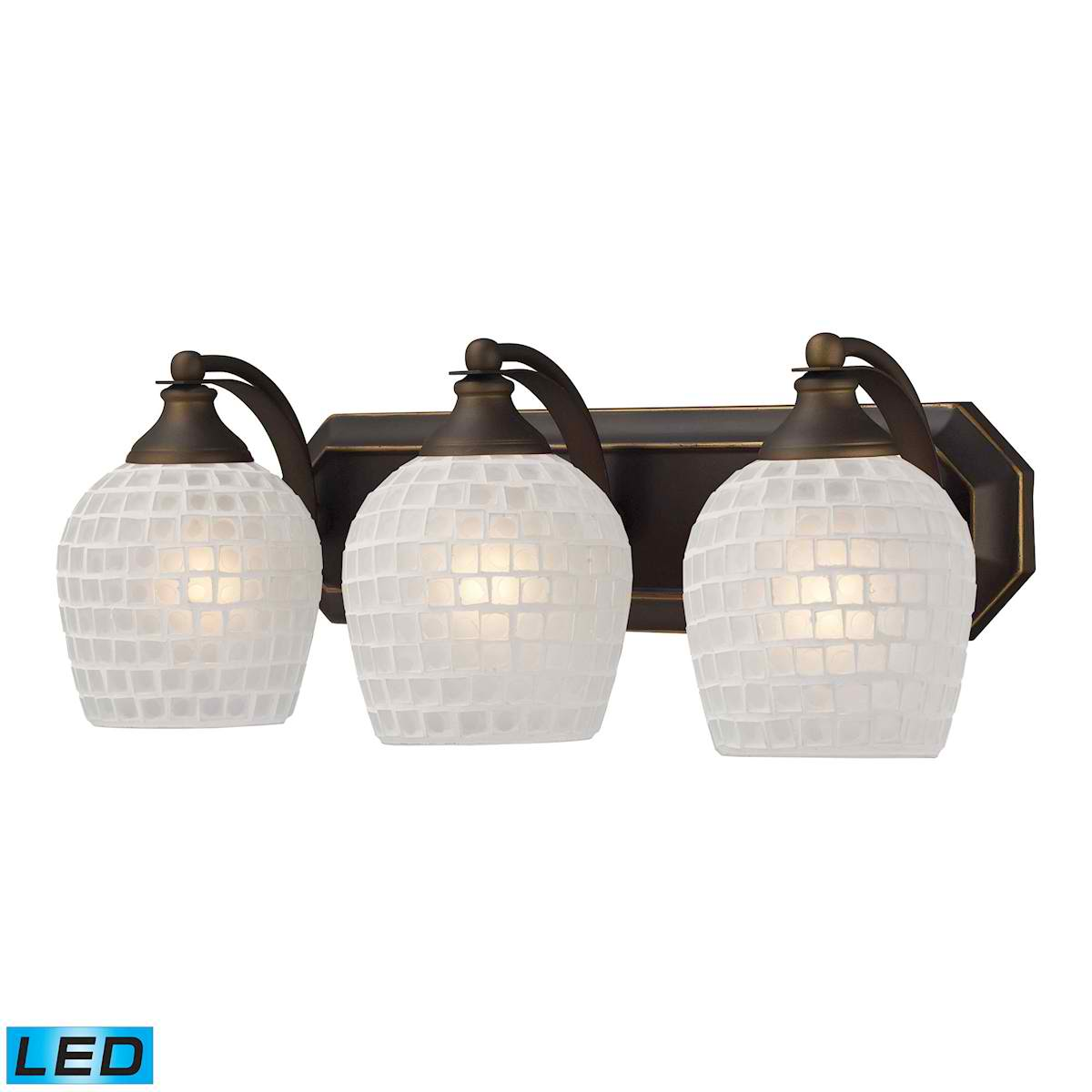 3 Light Vanity in Aged Bronze and White Mosaic Glass - LED, 800 Lumens (2400 Lumens Total) with Full Scale