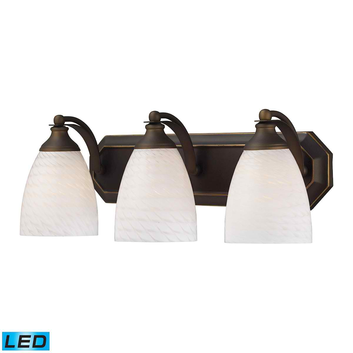 3 Light Vanity in Aged Bronze and White Swirl Glass - LED, 800 Lumens (2400 Lumens Total) with Full Scale