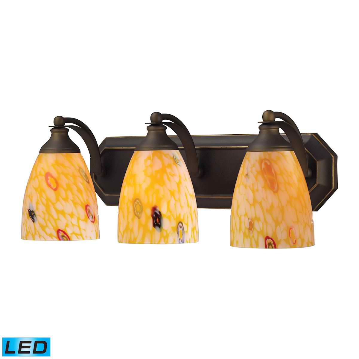 3 Light Vanity in Aged Bronze and Yellow Blaze Glass - LED, 800 Lumens (2400 Lumens Total) with Full Scale
