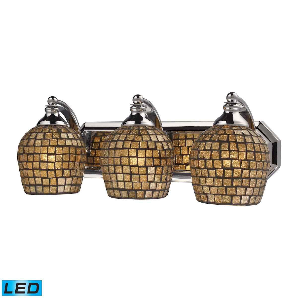 3 Light Vanity in Polished Chrome and Gold Mosaic Glass - LED, 800 Lumens (2400 Lumens Total) with Full Scale