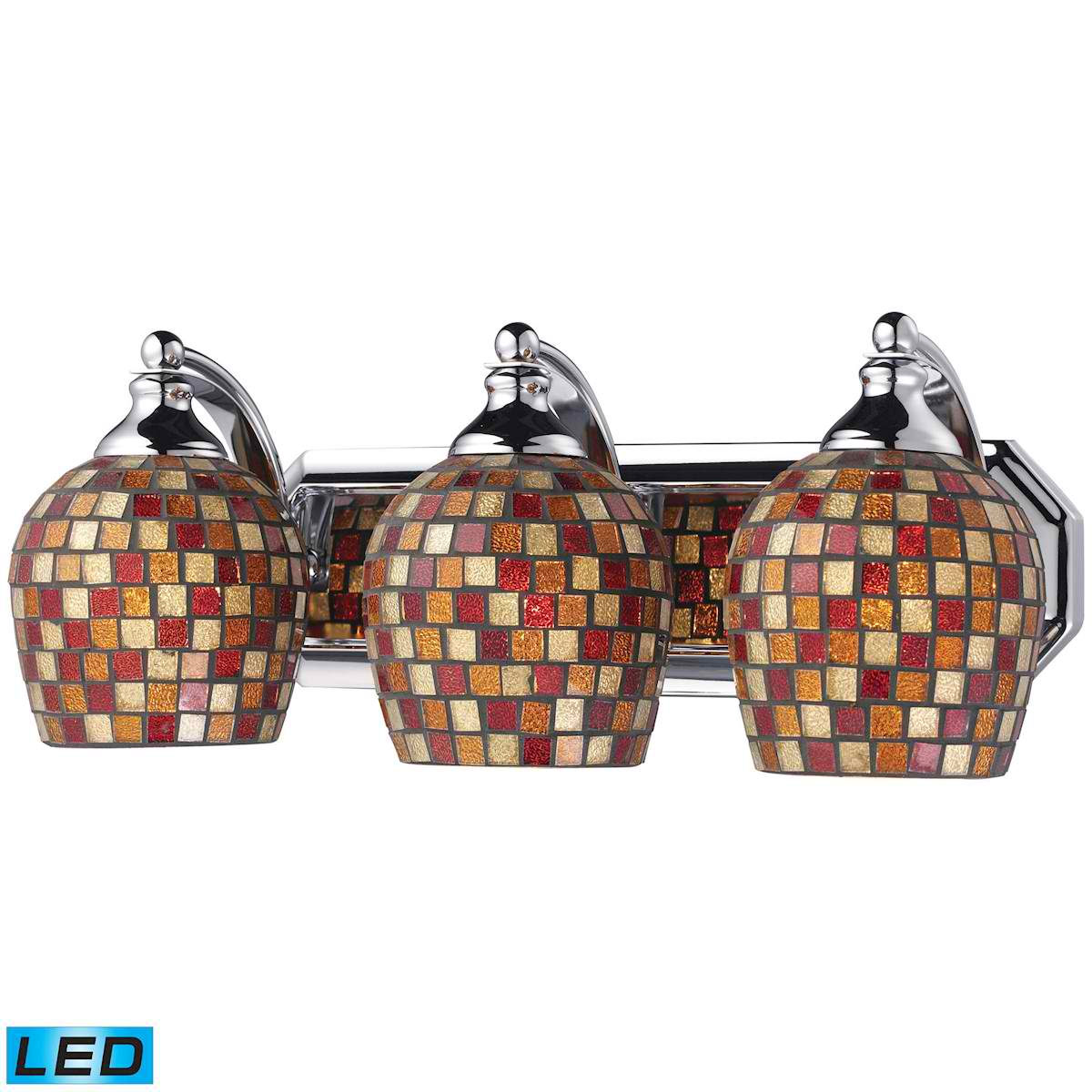 3 Light Vanity in Polished Chrome and Multi Mosaic Glass - LED, 800 Lumens (2400 Lumens Total) With Full Scale