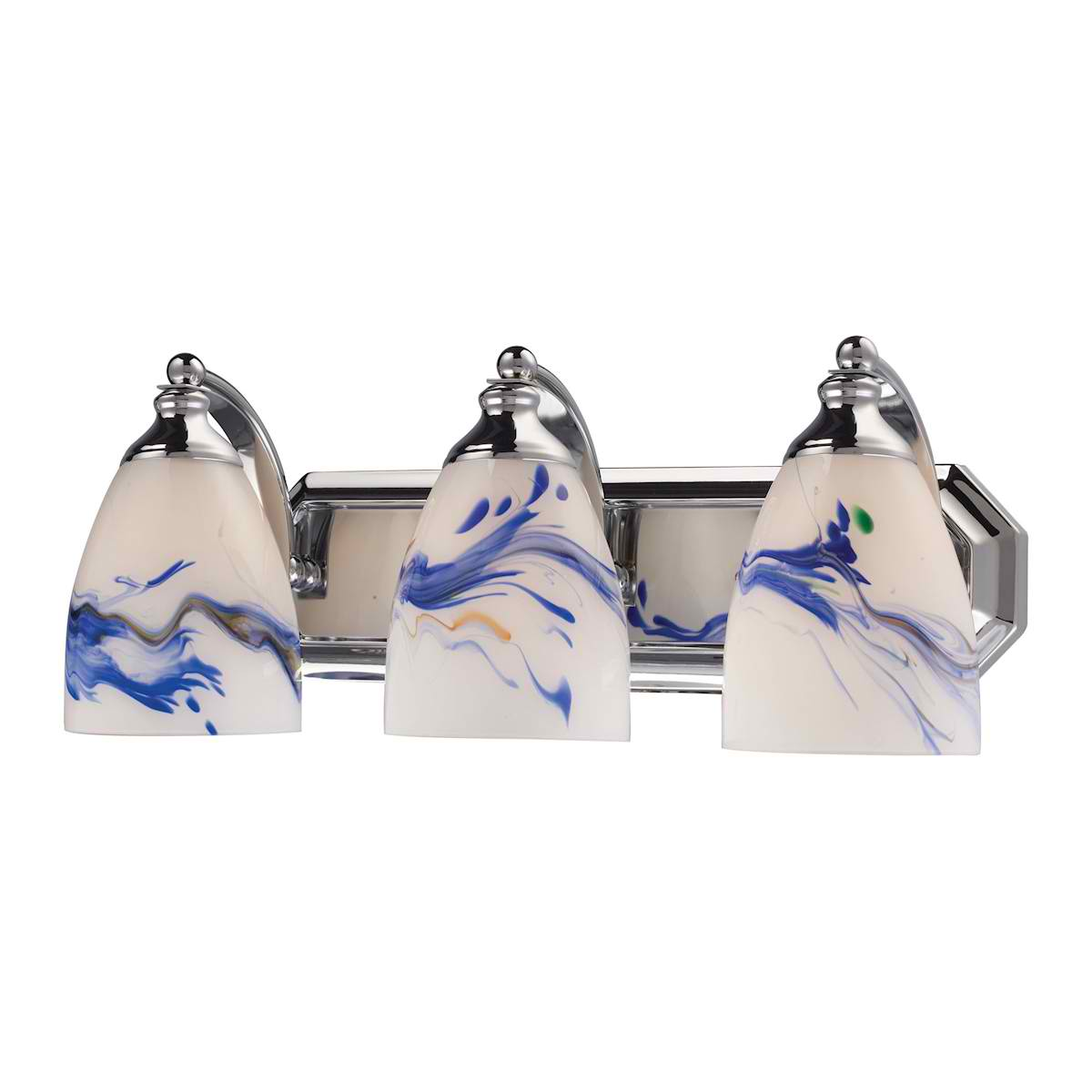 Vanity 3-Lt Chrome Linear with Mountain Glass