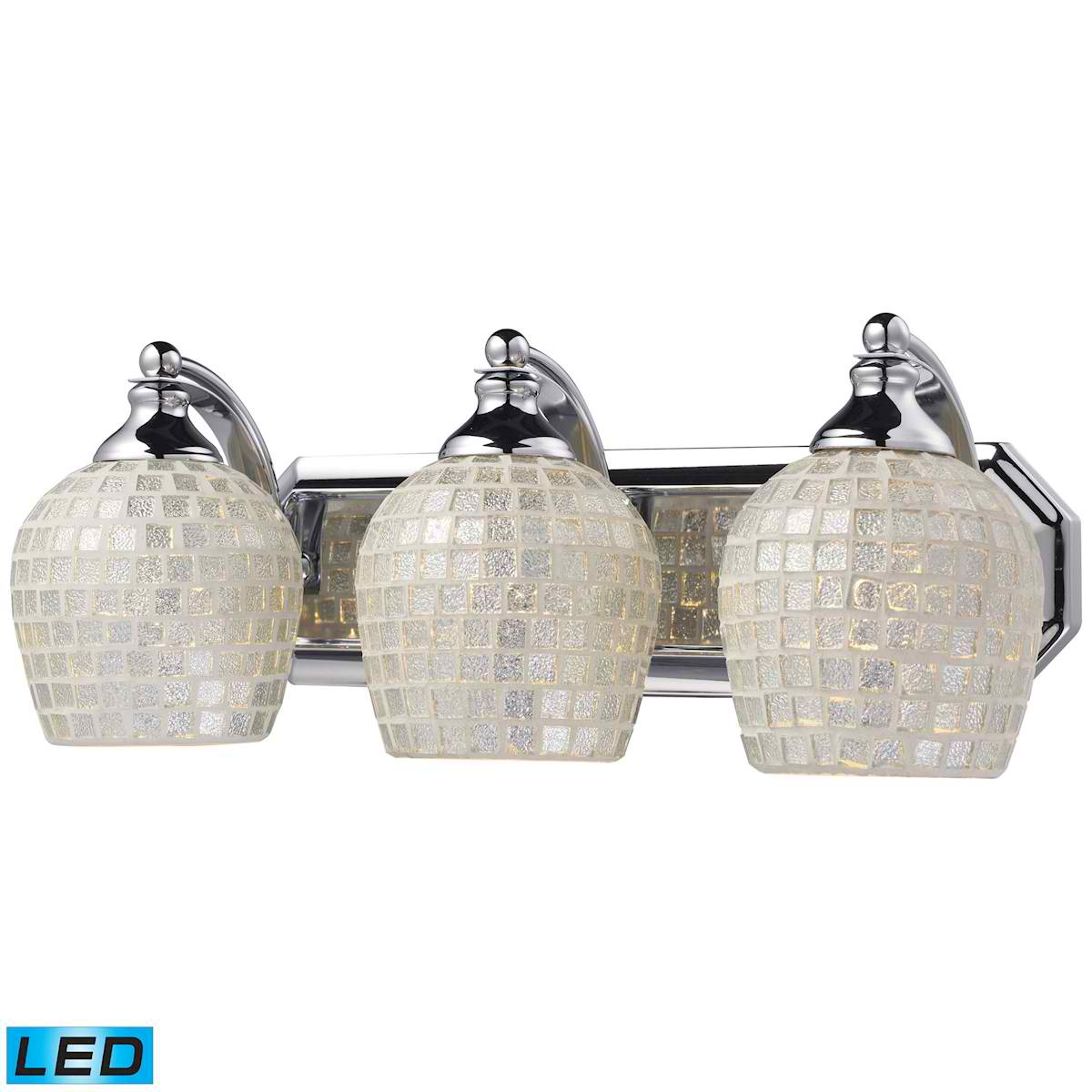 3 Light Vanity in Polished Chrome and Silver Mosaic Glass - LED, 800 Lumens (2400 Lumens Total) With Full Scale