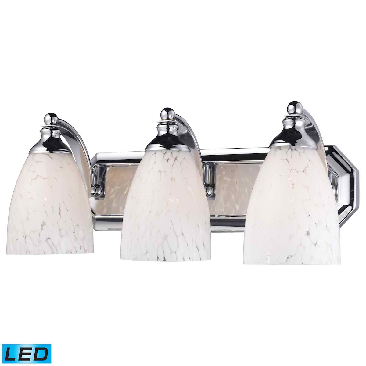 3 Light Vanity in Polished Chrome and Snow White Glass - LED, 800 Lumens (2400 Lumens Total) with Full Scale
