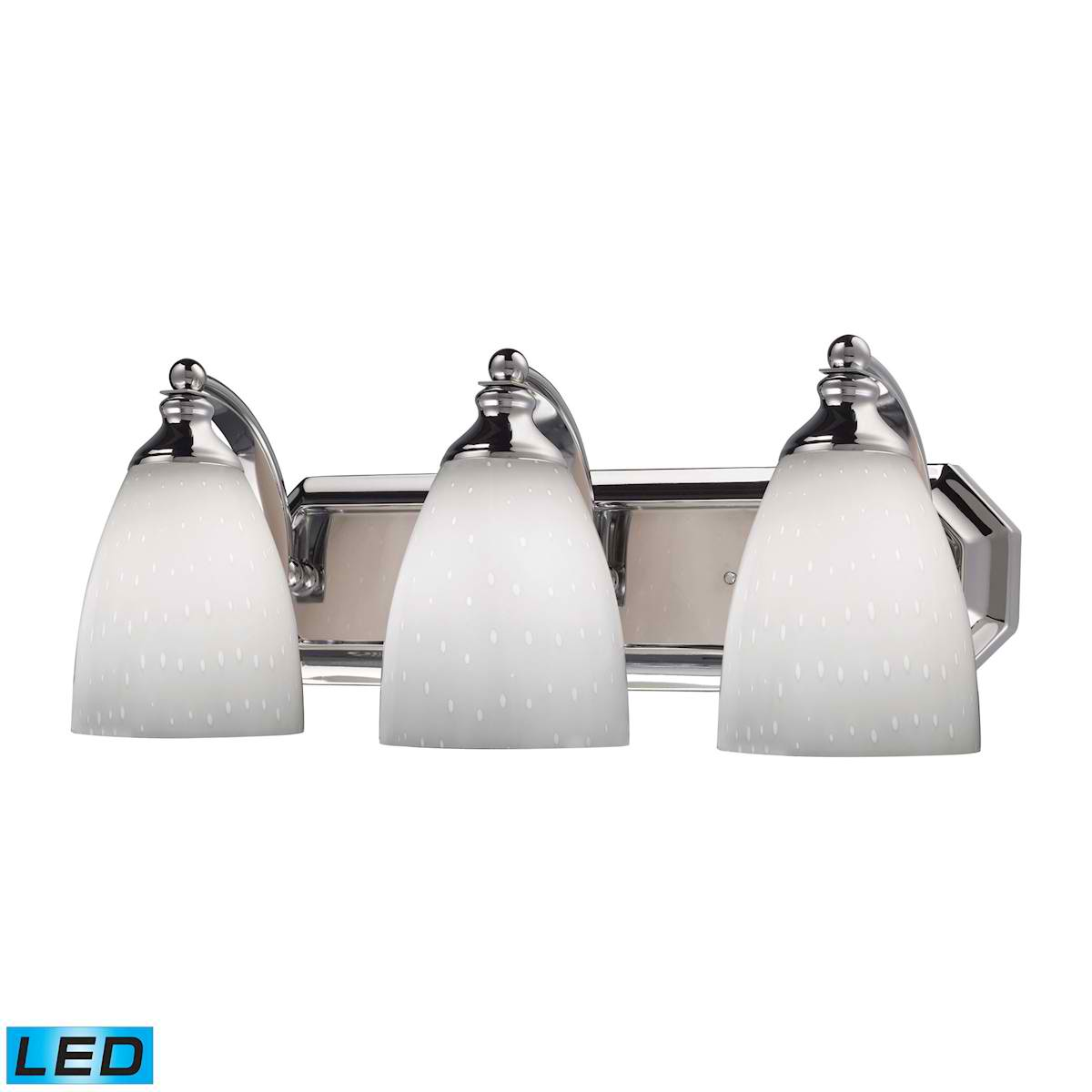 3 Light Vanity in Polished Chrome and Simply White Glass - LED, 800 Lumens (2400 Lumens Total) With Full Scale