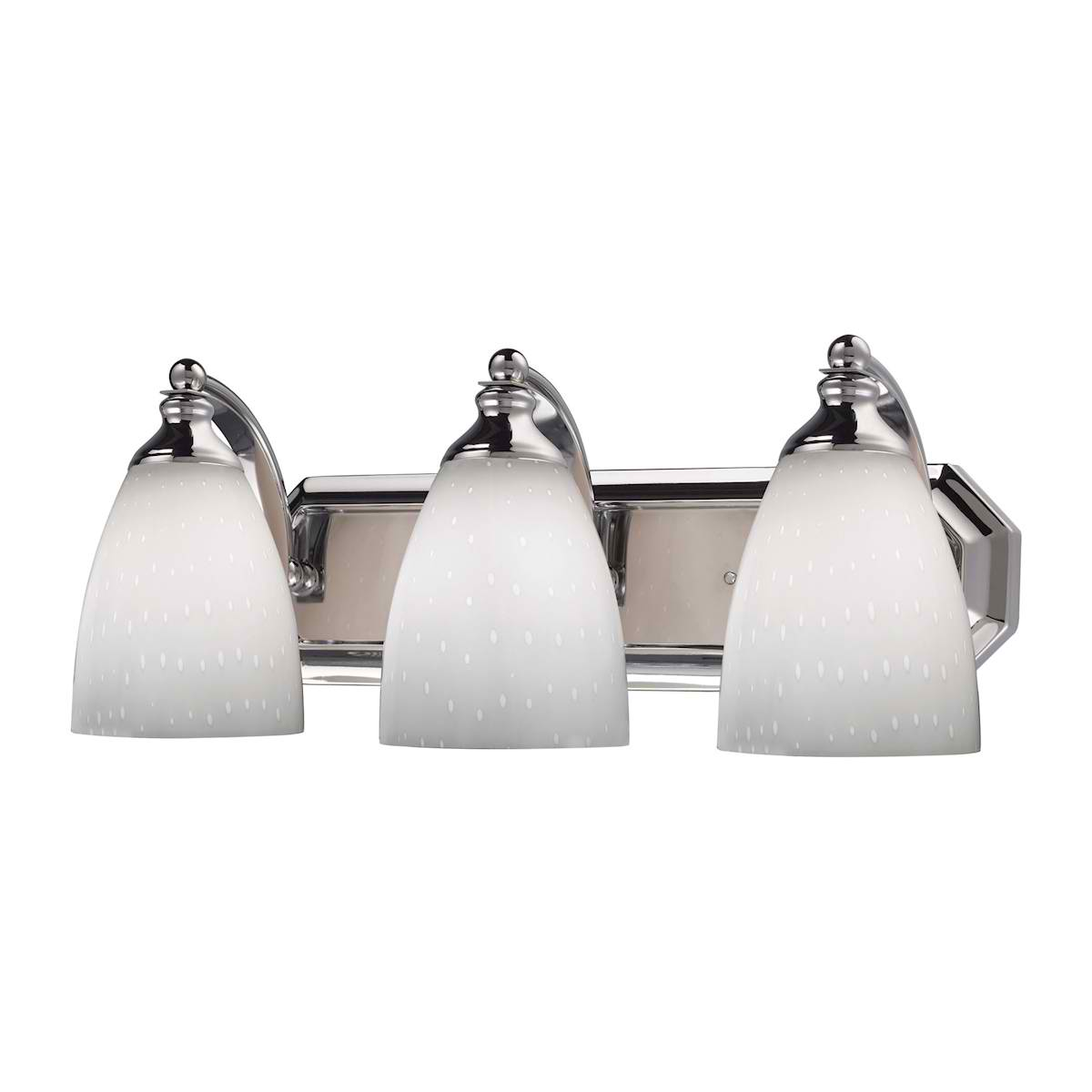 Vanity 3-Lt Chrome Linear with Simple White Glass