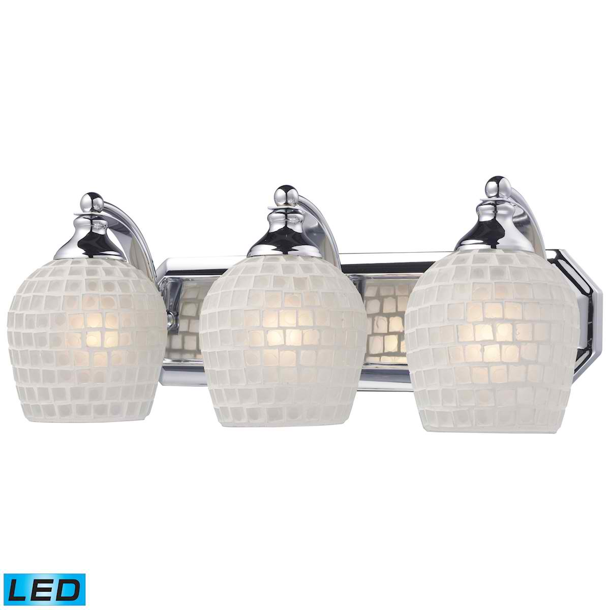 3 Light Vanity in Polished Chrome and White Mosaic Glass - LED, 800 Lumens (2400 Lumens Total) With Full Scale