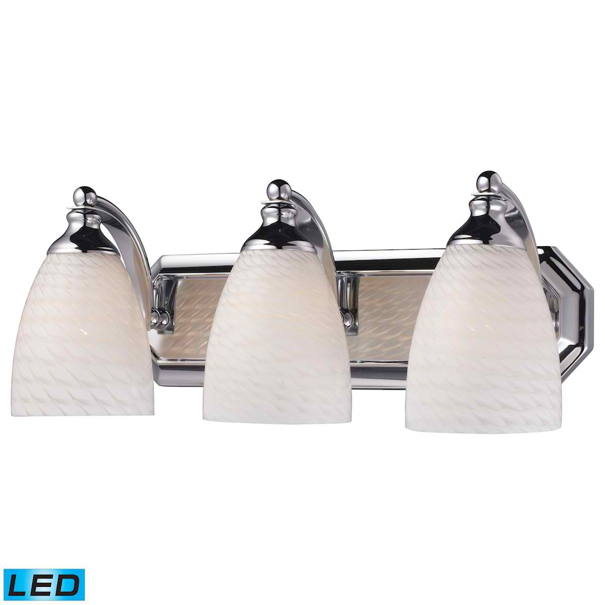 3 Light Vanity in Polished Chrome and White Swirl Glass - LED, 800 Lumens (2400 Lumens Total) with Full Scale