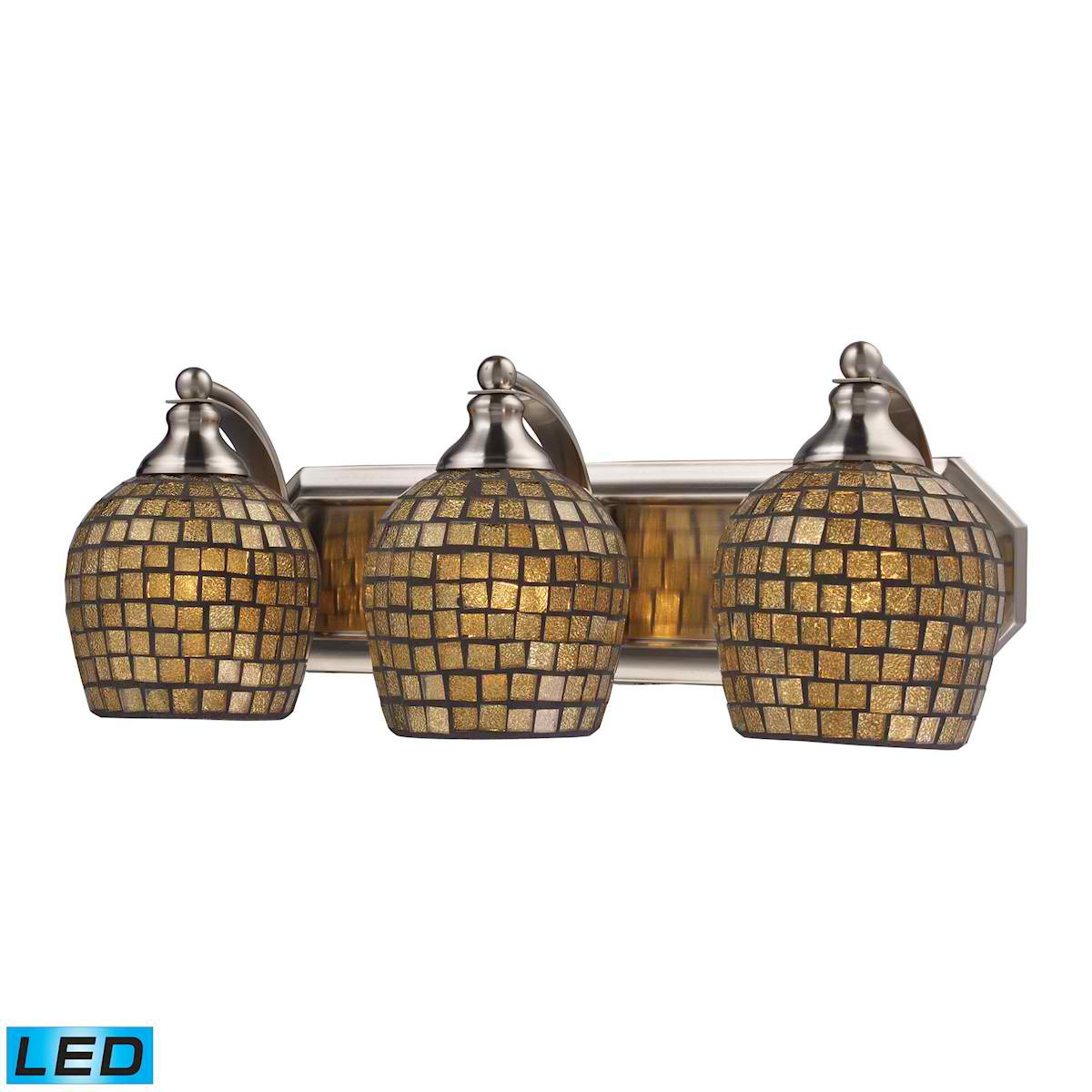 3 Light Vanity in Satin Nickel and Gold Mosaic Glass - LED, 800 Lumens (2400 Lumens Total) with Full Scale