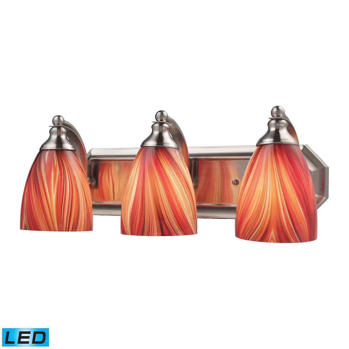 3 Light Vanity in Satin Nickel and Multi Glass - LED, 800 Lumens (2400 Lumens Total) with Full Scale