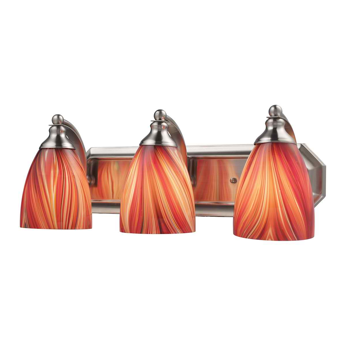 Vanity 3 Light in Satin Nickel with Multi Glass