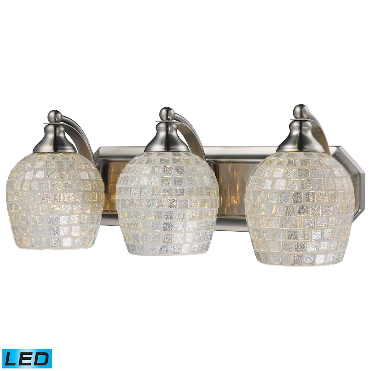 3 Light Vanity in Satin Nickel and Silver Mosaic Glass - LED, 800 Lumens (2400 Lumens Total) with Full Scale