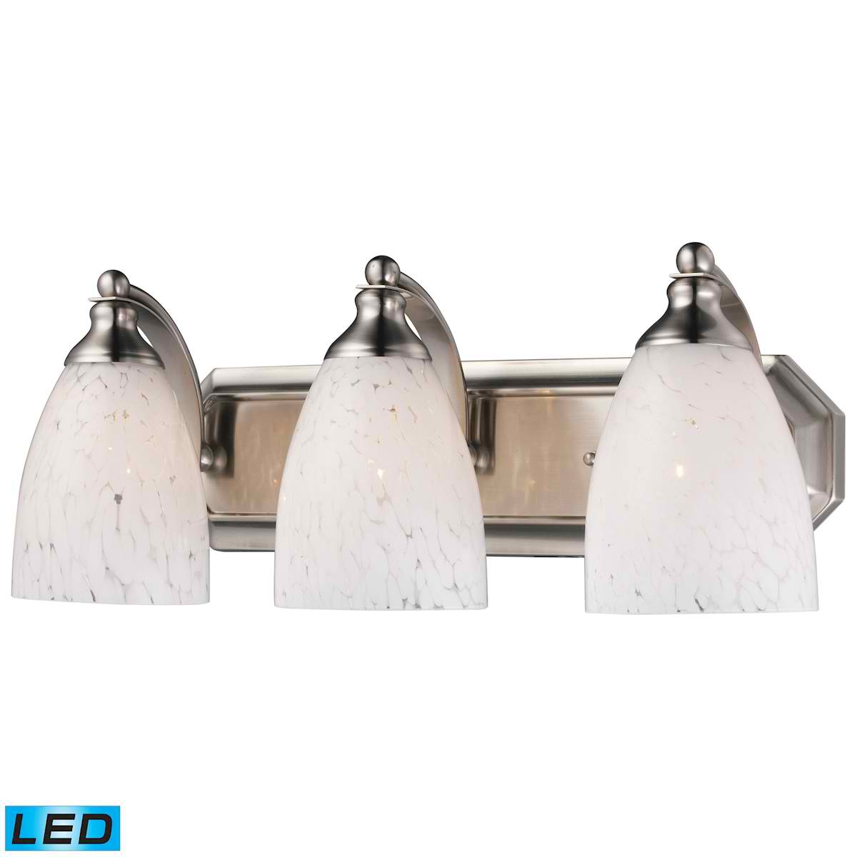 3 Light Vanity in Satin Nickel and Snow White Glass - LED, 800 Lumens (2400 Lumens Total) with Full Scale