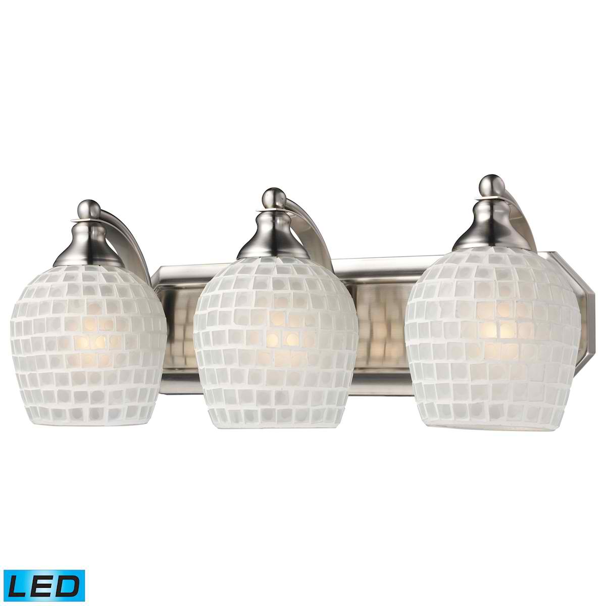 3 Light Vanity in Satin Nickel and White Mosaic Glass - LED, 800 Lumens (2400 Lumens Total) with Full Scale